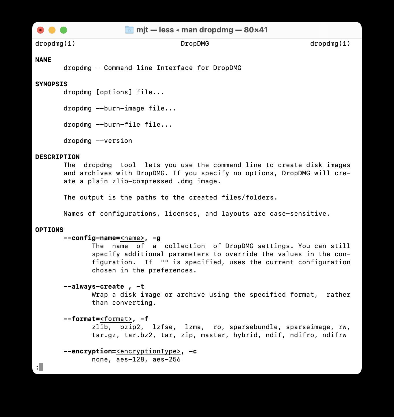 DropDMG Manual: Command-line tool