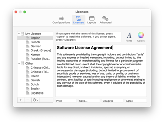 Preferences: Licenses