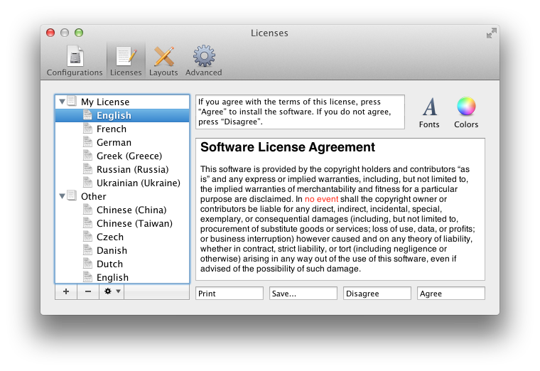 preferences licenses