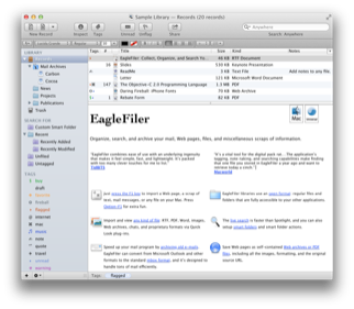 EagleFiler Main Window