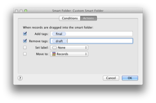 Assign actions that EagleFiler will apply when you drag and drop onto a smart folder