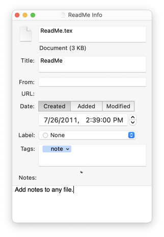 The Info inspector lets you add metadata such as tags, notes, and colored labels.