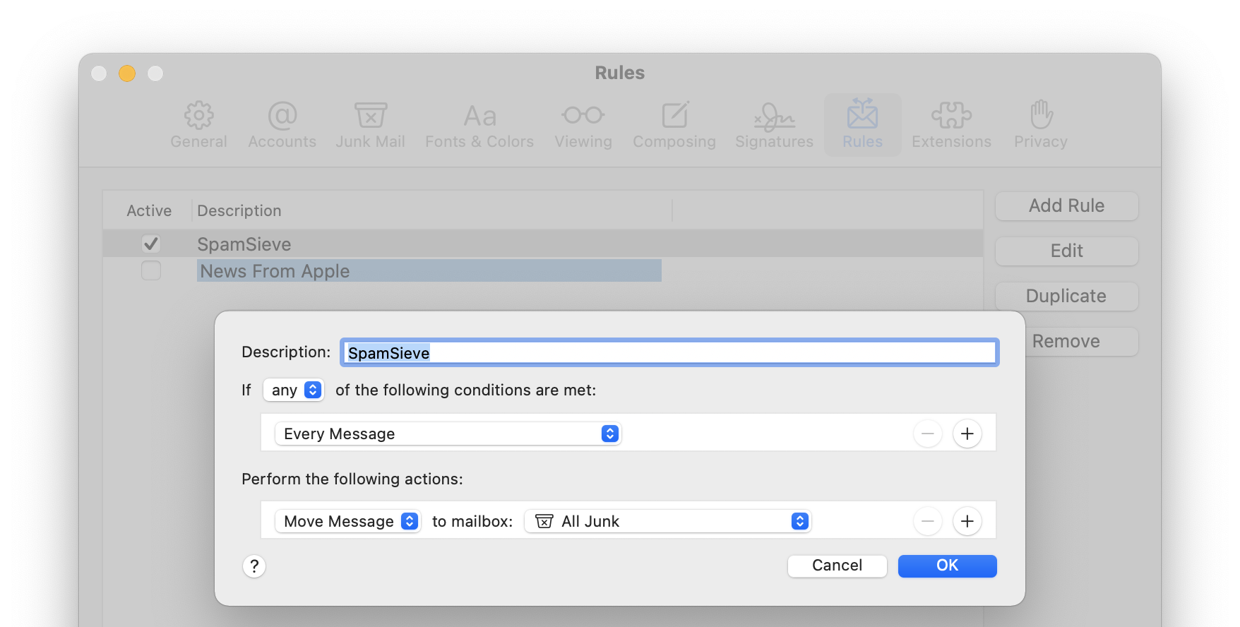 Apple mail rule for avast security free