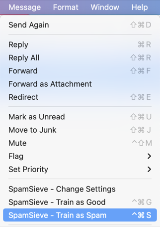 Control SpamSieve from within your mail program.