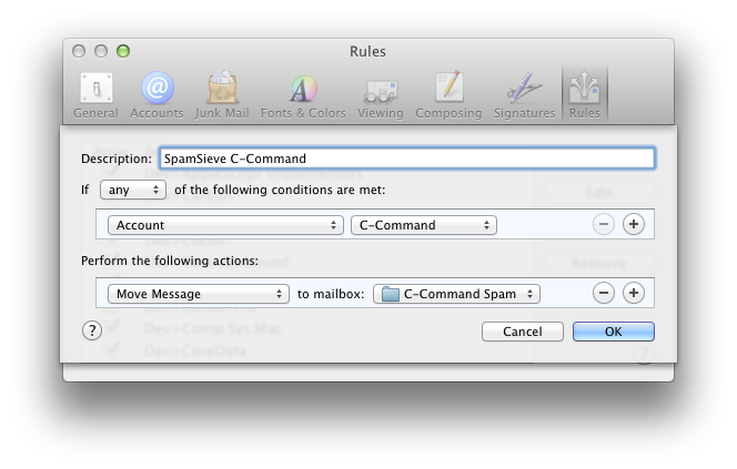 apple mail rule per account spam mailbox