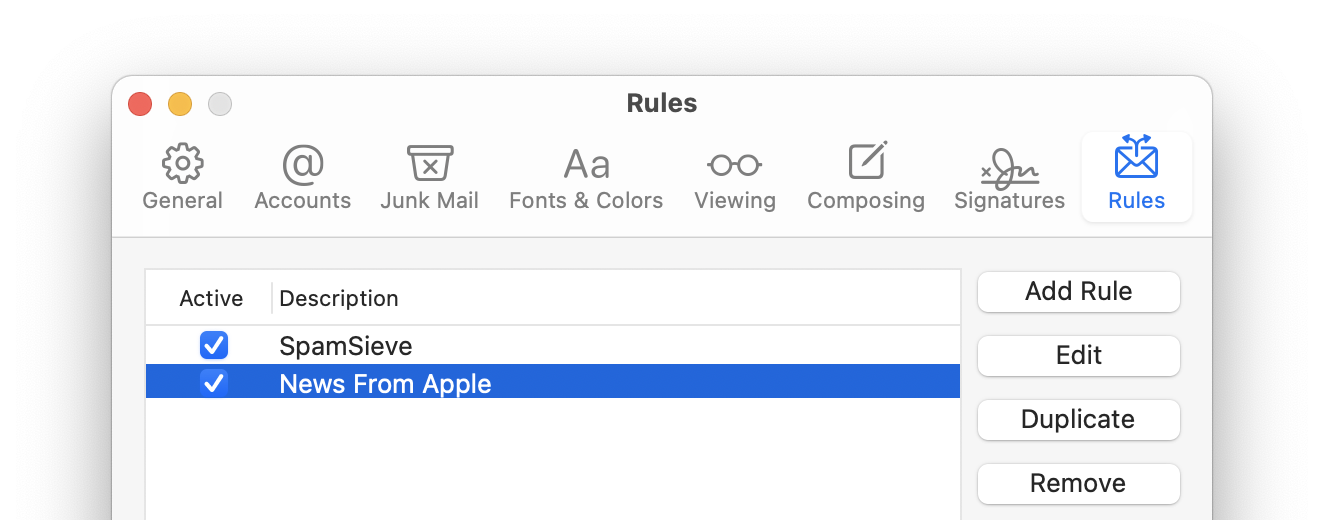 apple mail rule top