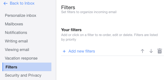 yahoo mail 2018 filters